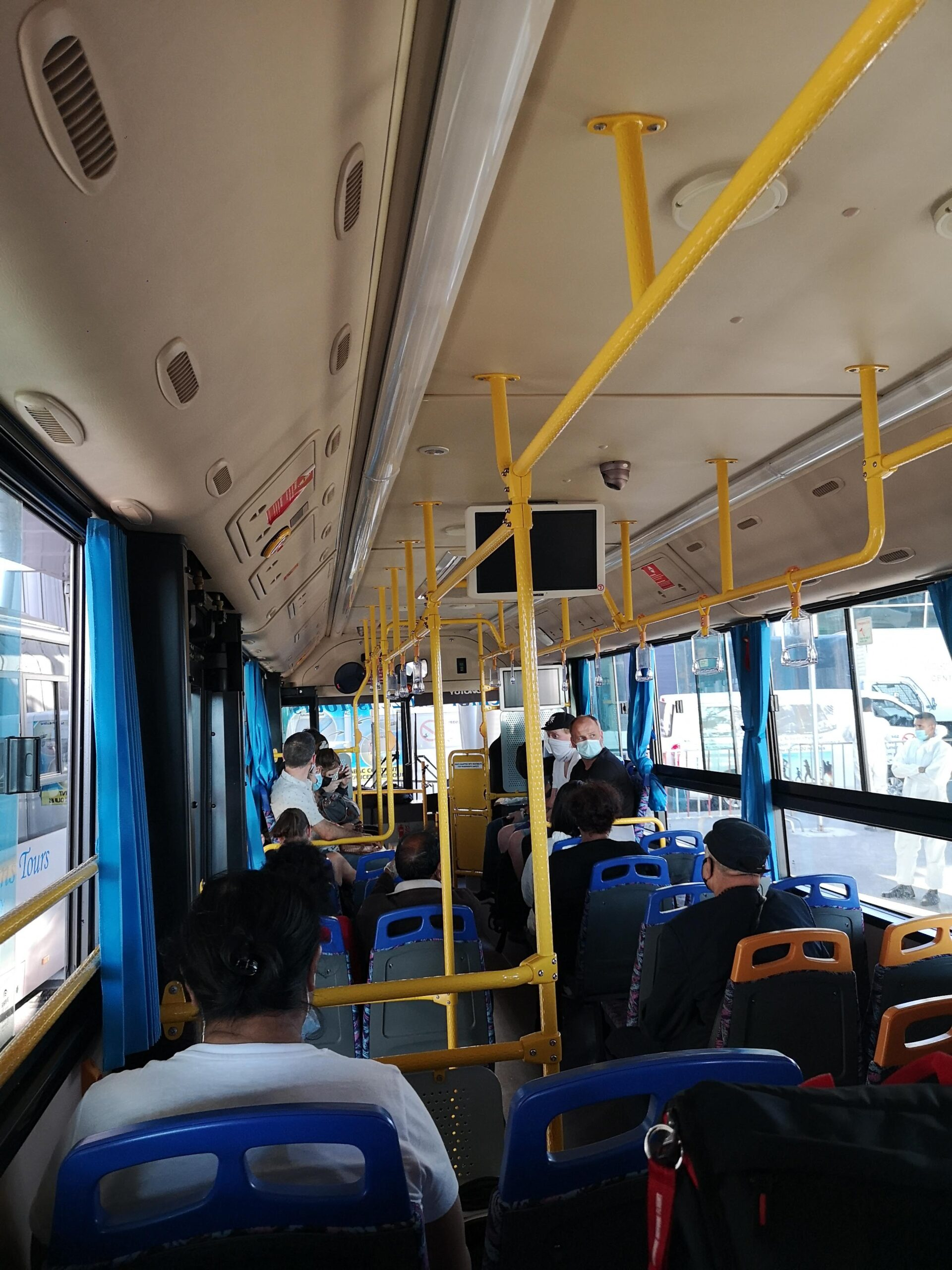 on the bus to the quarantine hotel